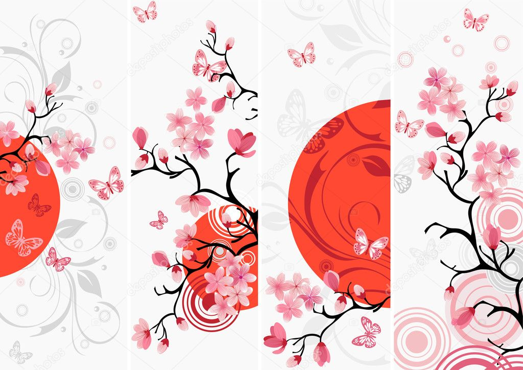 Cherry blossom set, Samples of Japanese cherry — Stock Vector #1379474