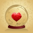 Glass Heart in a crystal bal — Stock Vector #1446590