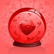 Glass Heart in a crystal ball — Stock Vector