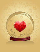 Glass Heart in a crystal bal — Stock Vector