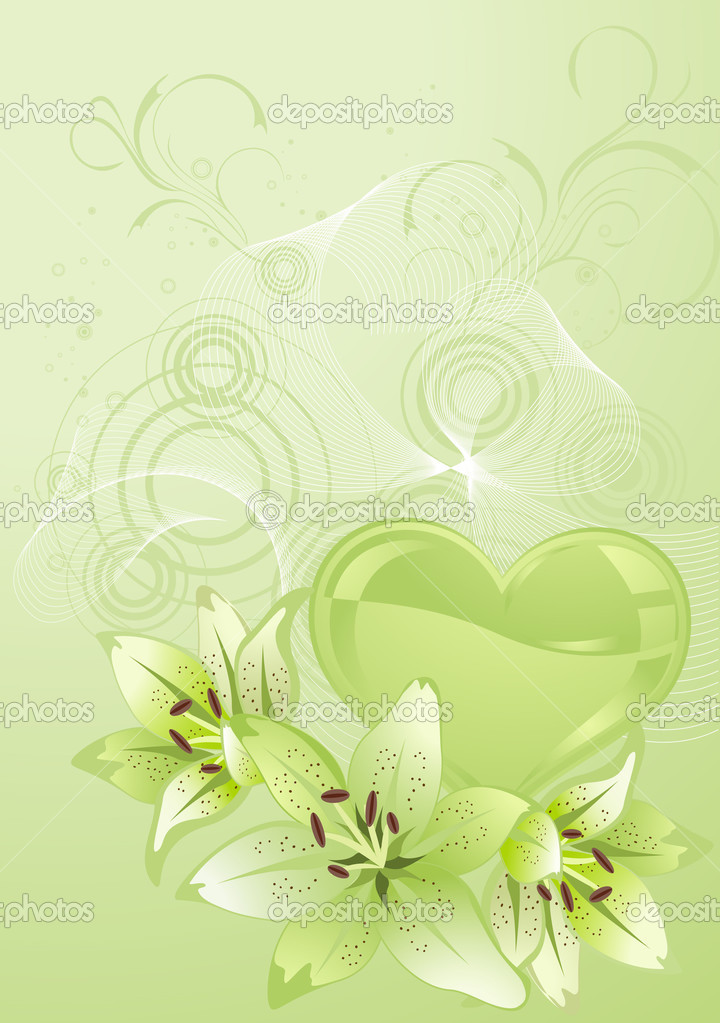 Valentines Day design green. Vector illustration. — Stock Vector #1467569
