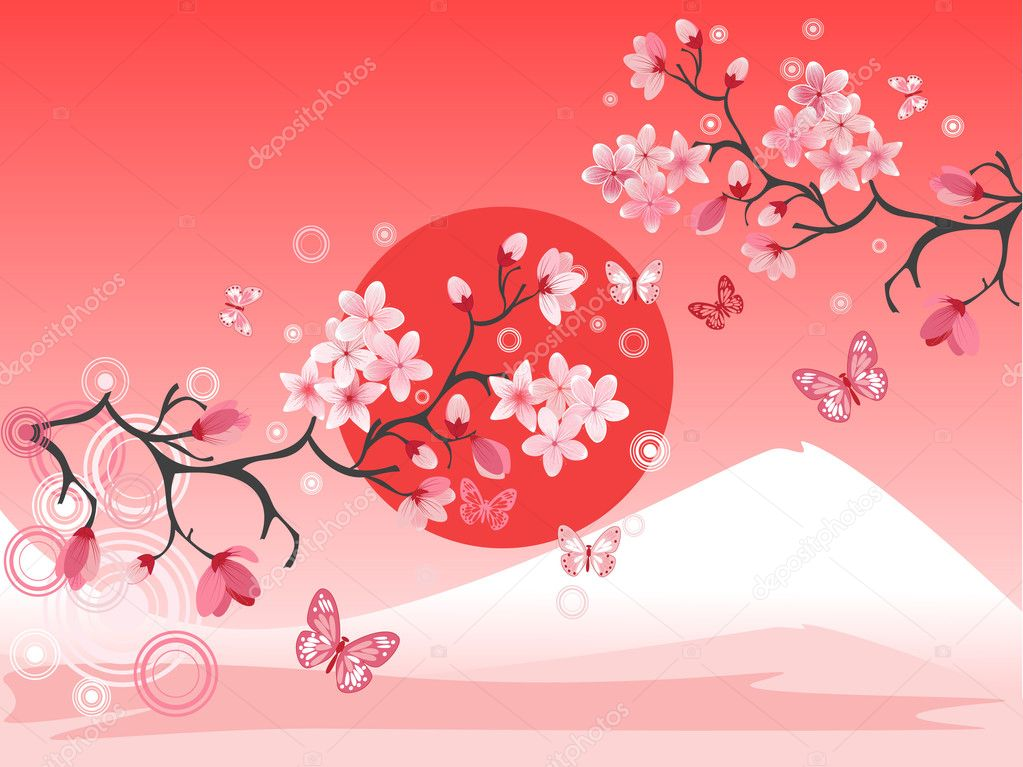 Japanese cherry tree to the background of the mountain — Stock Vector #1706858