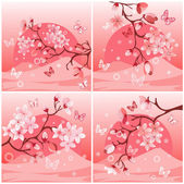 Japanese cherry tree — Stock Vector