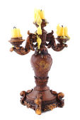 Wooden carved candlestick — Stock Photo