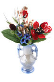 Vase with artificial flowers — Photo
