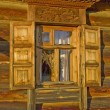 Traditional old Russian window. — Stock Photo