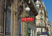 Metro sign on Paris street — Stock Photo