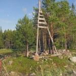 Wooden triangulation tower — Stock Photo