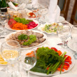 Food at banquet table — Stock Photo