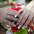 Hands of newlyweds — Stock Photo