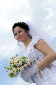 Young beautiful bride outdoors — Stock Photo