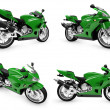 Collection of bikes isolated views - Stock Photo