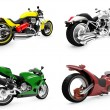 Collection of bikes isolated views — Stock Photo