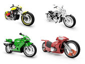 Collection of bikes isolated views — Stockfoto