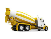 Concrete mixer isolated back view with c — Stock Photo