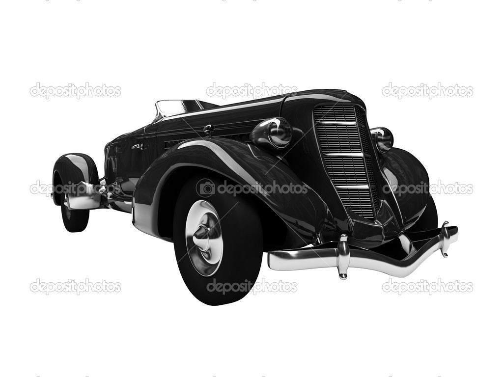 Isolated vintage black car on a white background — Foto de Stock   #1144854