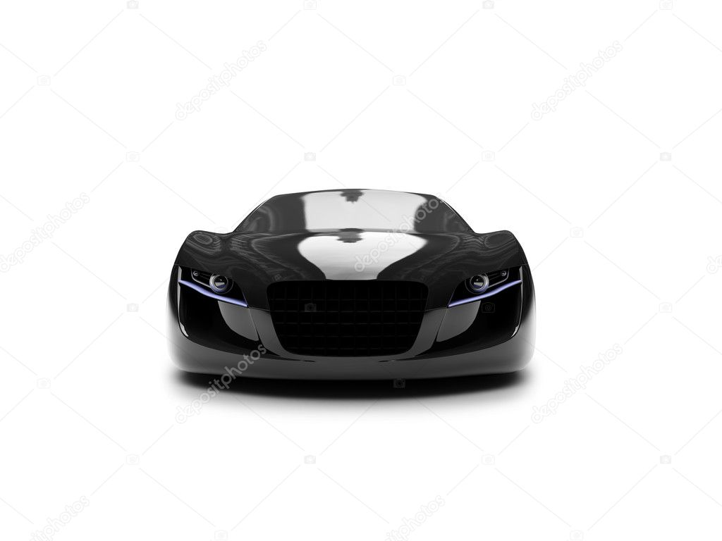 Isolated black super car front