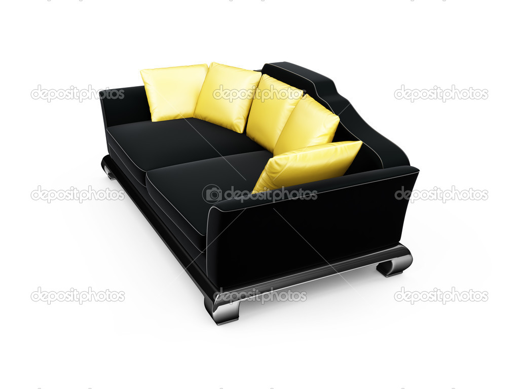 Isolated black sofa with gold pillows  Stock Photo #1146517
