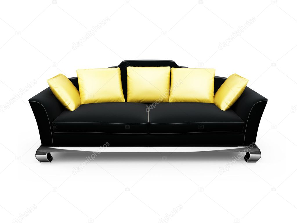 Isolated black sofa with gold pillows — Stok fotoğraf #1146518