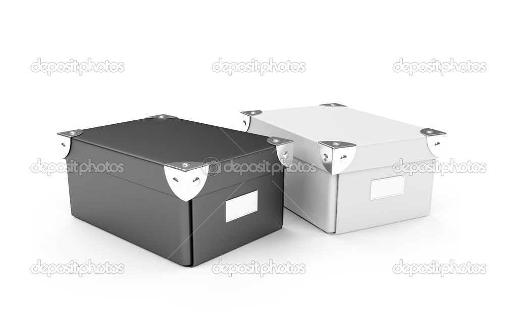 Isolated cardboard storage boxes over white background — Stock Photo #1147222