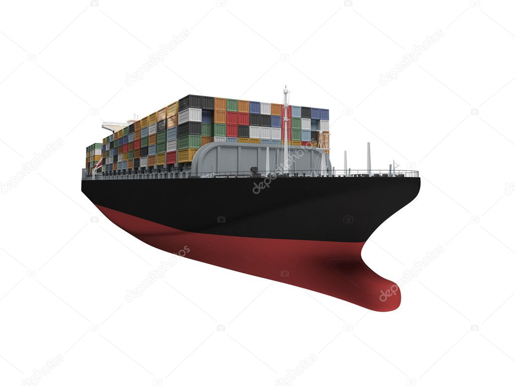 Container ship isolated front view — Stock Photo © fckncg ...