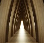 Shined wood corridor view — Stock Photo