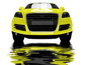 Isolated yellow car with reflections — Stock Photo