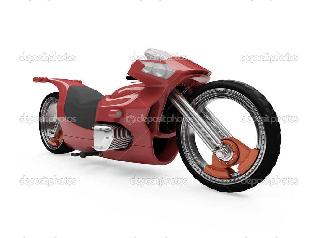 Isolated red bike front view over white background  Stock Photo #1151489