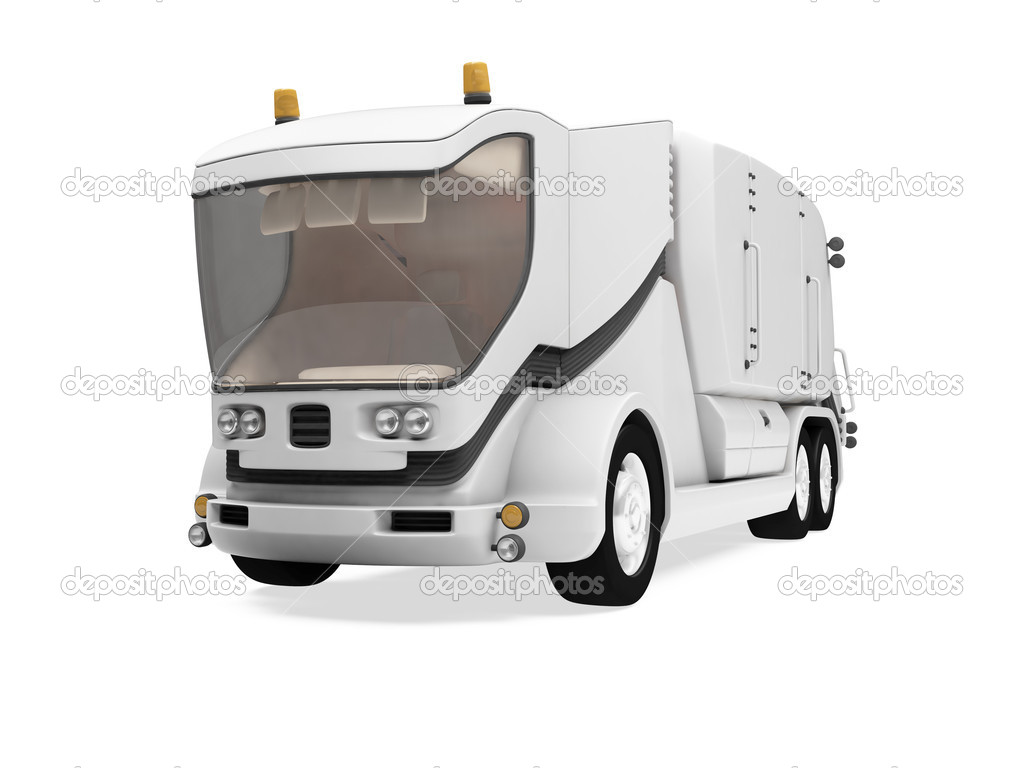 Isolated future trash truck front view over white background — Stock Photo #1151548