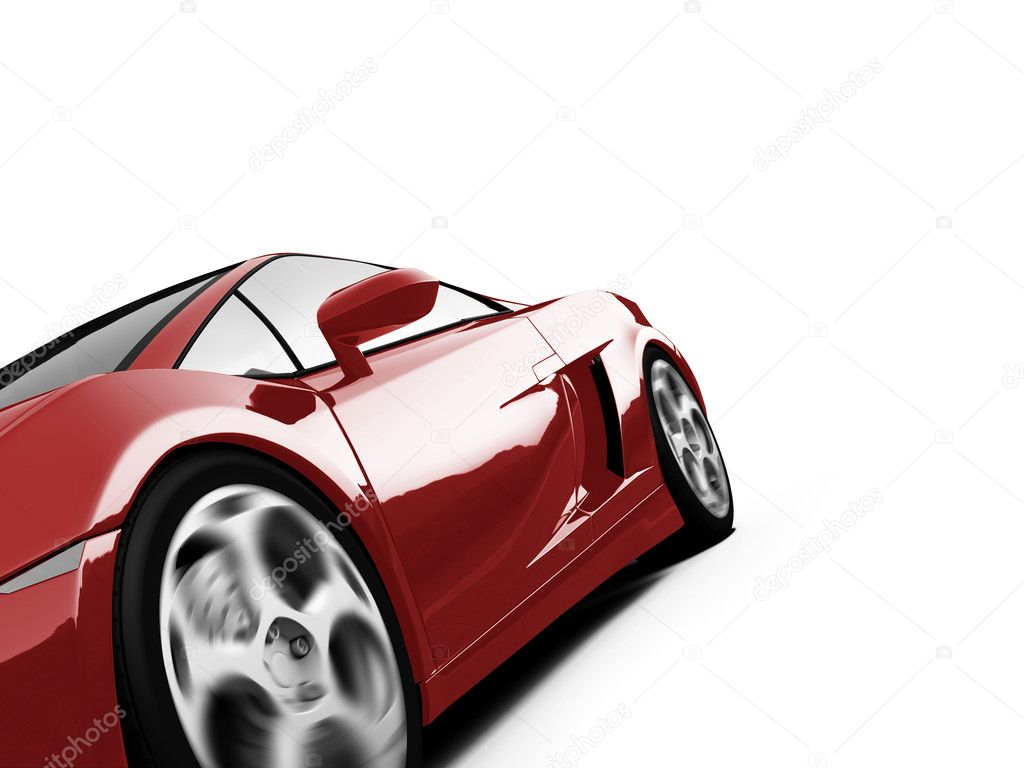 Isolated closeup sport car on a white background — Photo #1151654