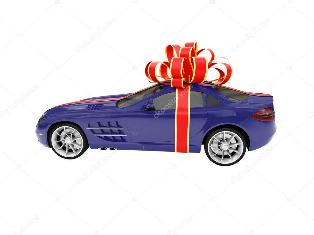 Isolated gift car on a white background — Stock Photo #1151755