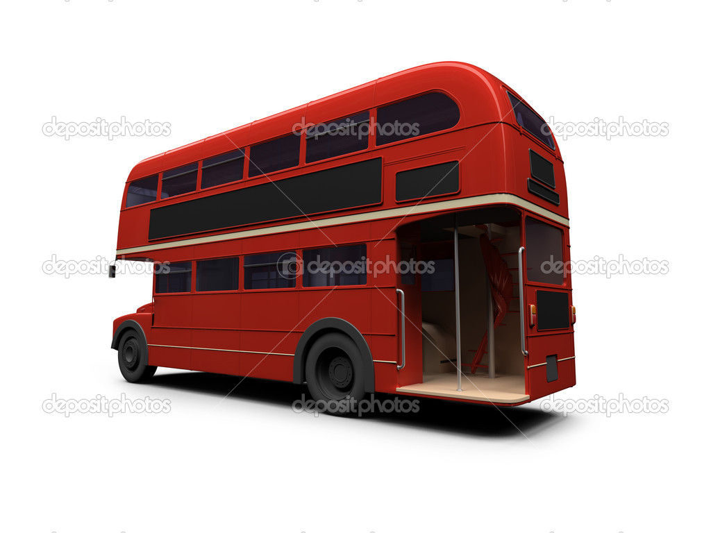 Isolated red autobus on white background — Stock Photo #1153456