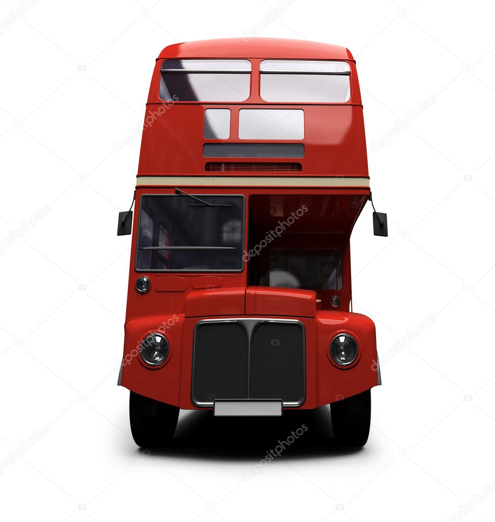 Isolated red autobus on white background — Stock fotografie #1153473
