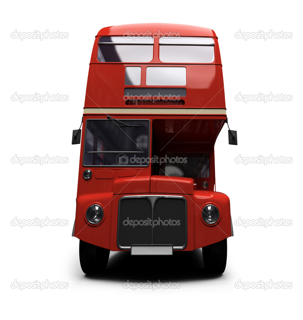 Isolated red autobus on white background — Foto Stock #1153473