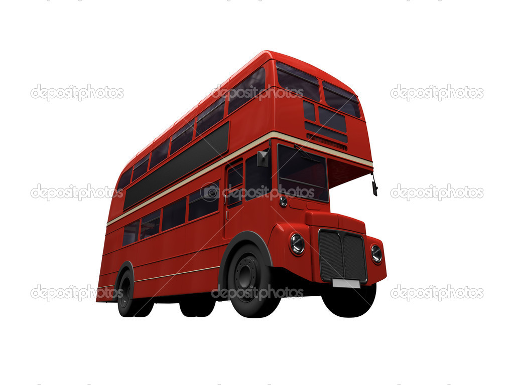 Isolated red autobus on white background — Stock Photo #1153495