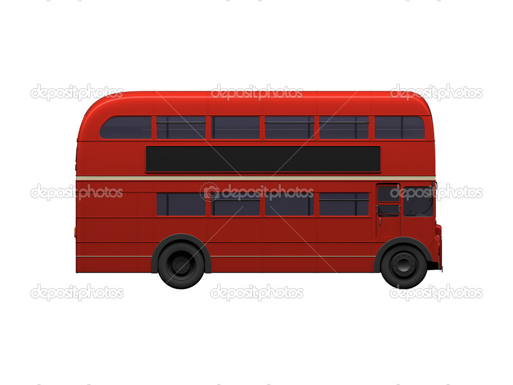 Isolated red autobus on white background — Stock Photo #1153500