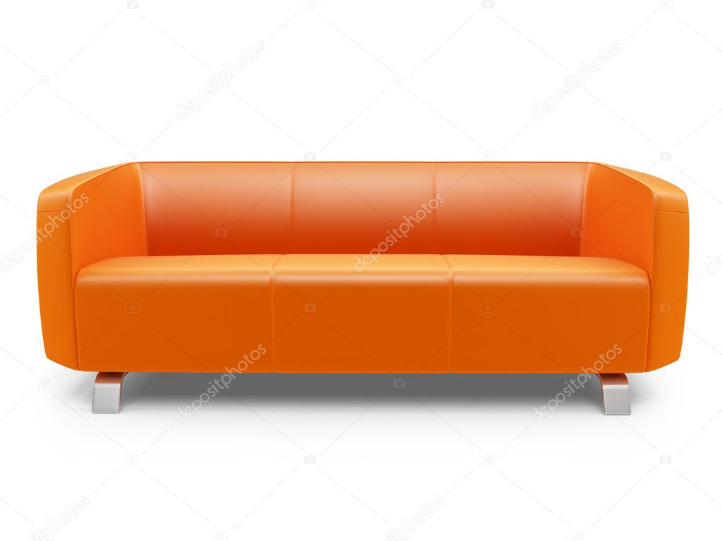 orange couch over white stock photo fckncg 1154676. Black Bedroom Furniture Sets. Home Design Ideas
