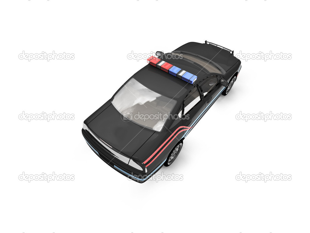 Isolated police car on a white