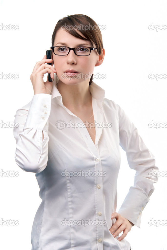 Young beautiful Business Woman holding Cell Phone — Stock Photo #1305696