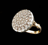 Golden ring with diamonds — Stok fotoğraf