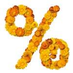 Alphabet from yellow and orange flowers — Stock Photo