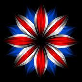 Bloem met Britse vlag kleuren op zwart — Stockfoto