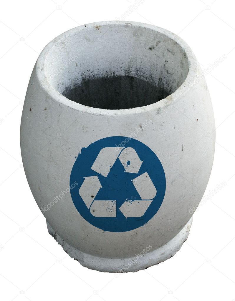 White empty trash with recycle sign  Stock Photo #1140934