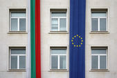 European Union and Bulgaria flags, Sofia — Stock Photo