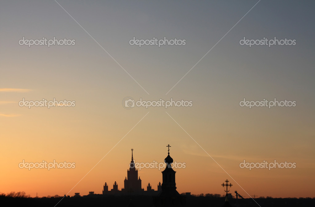 The Horizontal sunset City silhouette, Moscow, Russia  Stock Photo #1160347