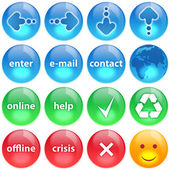 Blue, green and red buttons collection s — Stock Photo