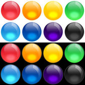 Color buttons set on black and white bac — Stock Photo
