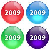 Four buttons with highlight — Stock Photo