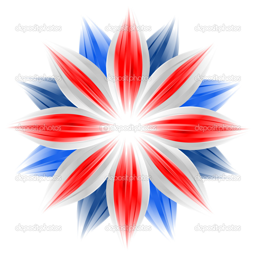 Flower with british flag colors on white background — Stock Photo #1417004