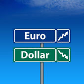 Road Sign, euro up, dollar down — Stock Photo